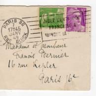 PARIS 96 RBV 'aidez L'entr'aide ..' (B096216) 1949, Marianne Gandon 10f Lilas (811)et 5f Vert Clair (809) - Marcophilie (Lettres)