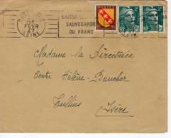 104-136 COLOMBES Seine RBV 'baisse Des Prix' (COL629) 1947 2xmarianne Gandon 2f  (713)lorraine (757) Tarif Court 4f50 - Marcophilie (Lettres)