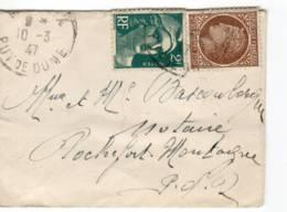 MESSEIX Puy De Dome Cachet A4 1947 Marianne Gandon 2f Vert (713) Ceres 2f50 Brun (681) Tarif Ephemere 4f50 1947 - Postmark Collection (Covers)