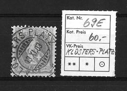 1900-1903 STEHENDE HELVETIA (gezähnt) → Weisses Papier Kontrollzeichen Form B /14 Zähne  ►SBK-69E (KLOSTERS-PLATZ)◄ - 1882-1906 Armoiries, Helvetia Debout & UPU