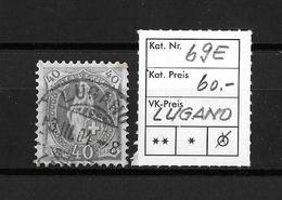 1900-1903 STEHENDE HELVETIA (gezähnt) → Weisses Papier Kontrollzeichen Form B /14 Zähne Senkrecht  ►SBK-69E (LUGANO)◄ - 1882-1906 Armoiries, Helvetia Debout & UPU