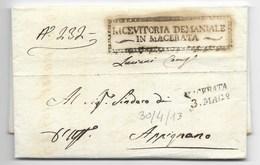 PERIODO NAPOLEONICO - DA MACERATA AD APPIGNANO - 30.4.1813. - 1. ...-1850 Prephilately