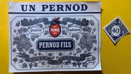 12333 . UN PERNOD Pernod Fils Coiuvet Suisse Anicenne étiquette - Etiquettes
