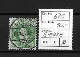 1891-1898 STEHENDE HELVETIA (gezähnt) → Weisses Papier Kontrollzeichen Form A /13 Zähne Senkrecht  ►SBK-67C (SIERRE)◄ - 1882-1906 Armoiries, Helvetia Debout & UPU