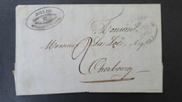 Lettre 1841  De Saint Vaast La Hougue Manche ( Courtier Maritime ) Pour Cherbourg Cachet Type 12 A Fleuron - Storia Postale