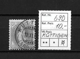 1894-1900 STEHENDE HELVETIA (gezähnt) → Weisses Papier Kontrollzeichen Form B /13 Zähne Senkrecht  ►SBK-69D (KÜTTIGEN)◄ - 1882-1906 Armoiries, Helvetia Debout & UPU