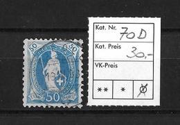 1894-1900 STEHENDE HELVETIA (gezähnt) → Weisses Papier Kontrollzeichen Form B /13 Zähne Senkrecht  ►SBK-70D◄ - 1882-1906 Armoiries, Helvetia Debout & UPU