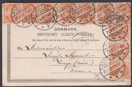 1902. Coat-of Arms. 1 Øre Orange 10 Ex RANDERS 21.9.02. To France.  (Michel 37) - JF321083 - 1864-04 (Christian IX)