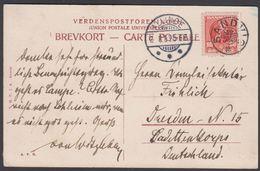 1906. Christian IX. 10 øre SANDVIG + ALLINGE 2. 8. 06. To Dresden, Germany. POSTCARD ... (MICHEL 48 II) - JF321087 - 1864-04 (Christian IX)
