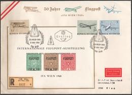 """Österreich 1968::ET/EXPRESS  ND-Block + 3 Marken 1292/4 """"IFA WIEN 1968"""" - FDC"""