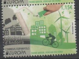 SPANISH ANDORRA , 2016, MNH, EUROPA, THINK GREEN, BICYCLES, WIND ENERGY,TREES, 1v - Europa-CEPT