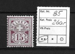 1906  ZIFFERMUSTER → Faserpapier Mit Wasserzeichen    ►SBK-85**◄ - 1882-1906 Armoiries, Helvetia Debout & UPU