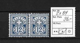 1906  ZIFFERMUSTER → Faserpapier Mit Wasserzeichen    ►SBK-2x84*◄ - 1882-1906 Armoiries, Helvetia Debout & UPU