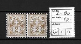 1906  ZIFFERMUSTER → Faserpapier Mit Wasserzeichen    ►SBK-2x80**◄ - 1882-1906 Armoiries, Helvetia Debout & UPU
