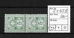 1894-1899 ZIFFERMUSTER → Faserpapier Kontrollzeichen Form B    ►SBK-2x65B**◄ - 1882-1906 Armoiries, Helvetia Debout & UPU