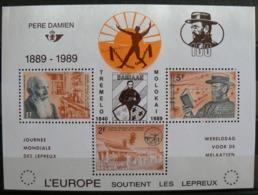 PR 164, 100e Anniversaire Du Décès Du Père Damien, Feuillet N° 35 Surchargé En Français, Parfait - Belgien