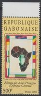 Gabon Gabun 2007 Mi. 1684 Réseau Des Aires Protégées D'Afrique Centrale Map Karte Carte Drapeaux Flags RARE ! - Geografia