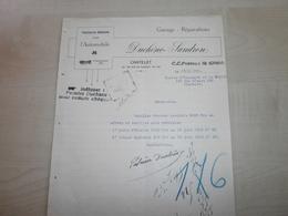 Facture Ancienne 1926 DUCHENE-SANDRON  CHATELET - Automobil
