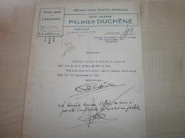 Facture Ancienne 1929 PALMIER  DUCHENE   CHATELET - Automobil