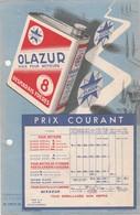 Avril 1937 / Affichette Tarif Huile Moteur OLAZUR / Desmarais Frères - Automobile
