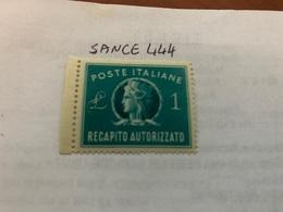 Italy Recapito Autorizzato 1L Mnh 1947 - 6. 1946-.. Republic