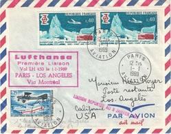 PARIS - AVIATION - 1ER LIASON PARIS-LOS ANGELES VIA MONTREAL PAR LUFTHANSA - 1-1-1959 - BEL AFFRANCHISSEMENT. - Luchtpost
