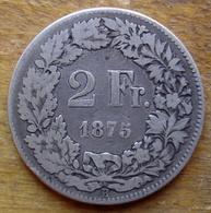 Suisse 2 Francs 1875 En Argent - Schweiz