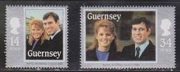 GUERNSEY Scott # 334-5 MH - Royal Wedding Of Prince Andrew & Sarah Ferguson - Guernsey