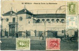 ESPAGNE CARTE POSTALE -SEVILLA -PLAZA DE TOROS LA MAESTRANZA DEPART ? (22-10-29) POUR LA FRANCE - Cartas
