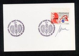 """SPM - SUR CARTON """"LIBERTE DE DELACROIX AVEC LOGO PHILEXFRANCE 89"""" CACHET TEMPORAIRE 1ER JOUR EXPOSITION 7/07/1989 - FDC"""