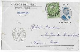"PEROU - 1901 - CARTE ENTIER POSTAL ILLUSTREE ""PUENTE DE PIEDRA-AREQUIPA"" (VOIR DOS) De LIMA => BOIS DE CENE (VENDEE) - Pérou"