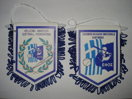 HELLENIC SOFTBALL FEDERATION PENNANT - FLAG - BANNER - GREECE - HELLAS - GREEK - Kleding, Souvenirs & Andere