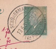Deutsches Reich Karte Mit Tagesstempel Schönermark 1930 LK Uckermark - Ganzsachen