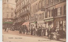 CPA PARIS (75) RUE CADET (9e) - ANIMEE - COLORISEE - Arrondissement: 09