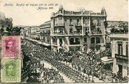 ESPAGNE CARTE POSTALE  -MELILLA -DESFILE DE TROPAS POR LA CALLE DE ALFONSO XIII - Covers & Documents