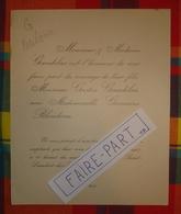 FAIRE-PART MARIAGE 1907 GAUDELAS # BLOUDEAU 49-Saumur St-Lambert-des-Levées * - Mariage