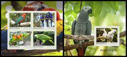 MALDIVES 2019 - Parrots. M/S + S/S Official Issue [MLD191001] - Parrots