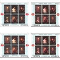 487c Yemen Kingdom MNH ** Les 4 Blocs N° 37 A B Complet OR (gold Stamps) Tableau (tableaux Painting) Rembrandt - Yémen