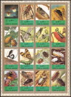 611 - Umm Al Qiwain MNH ** Mi N° 1338 / 1353 A Bloc Insectes (insects) + Papillons (butterflies Papillon) Abeille Bee - Umm Al-Qiwain
