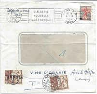 Algérie Oran 1960 Flamme L'ALGERIE NOUVELLE VIVRA FRANCAISE, Lettre (vins) Pour La Suisse. Taxée Deux Fois, 35 Centimes. - Storia Postale
