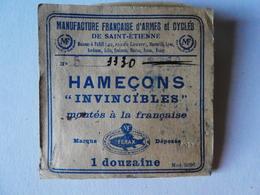 """MF M F Manufacture Française D'Armes Et Cycles St Etienne Hameçons """"Invincible"""" N° 5 FERAX Manufrance - Pêche"""