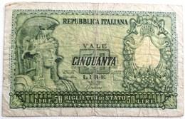 BILLET REPUBBLICA ITALIANA CINQUANTA 50 LIRE 31 DECEMBRE 1951 ITALIE ITALY - [ 2] 1946-… : Repubblica