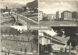V4162 Bolzano Bozen - Ponte Druso - Via Firenze E Via Roma - Lido - Fiera - Panorama Vedute Multipla / Viaggiata 1957 - Bolzano (Bozen)
