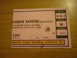 AEK-Glasgow Rangers Champions League Preliminary Round Game Football Match Ticket Stub 10/08/1994 - Tickets & Toegangskaarten