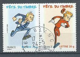 France YT N°3877+3879 Fête Du Timbre Spirou Et Fantasio (Paire Se-tenant) Oblitéré ° - France