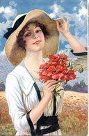 CPA  -  Femme Avec Un Bouquet De Fleurs   - écrite - Women