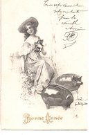 CPA  -    Femmes Avec Cochons - Bonne Année -  écrite - Femmes