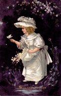 CPA  -    Femme Avec Fleurs Et Papillon  -  écrite - Women