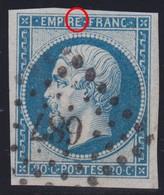 N°14B Grandes Marges, Point Bleu Entouré D'un Fin Filet Blanc En Haut Du E De EMPIRE, TTB - 1853-1860 Napoleon III