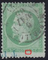 N°20 Timbre Plus Grand, Cachet De Contrôle TP En Bleu, Rentrant Sur Le Filet Inférieur, TB Et RRRR - 1862 Napoleon III